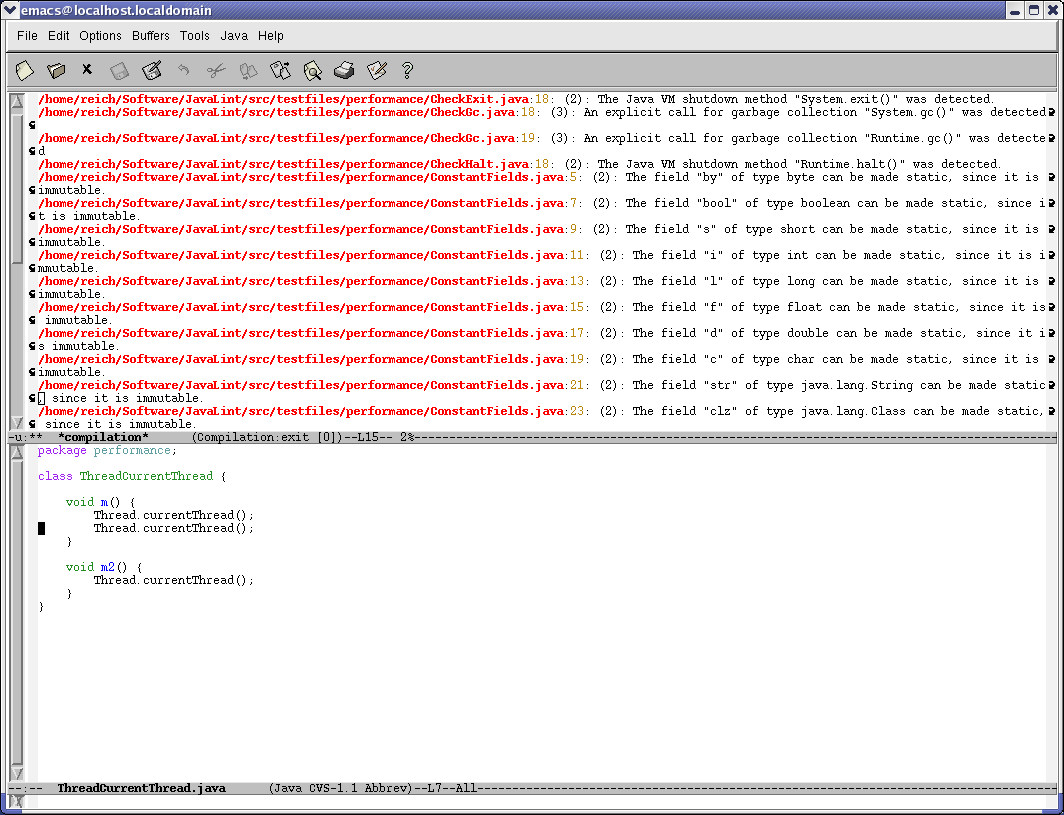 Lint4j Emacs Integration Screenshot
